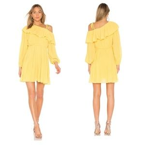 ENDLESS ROSE   Yellow Pleated One Shoulder Dress M
